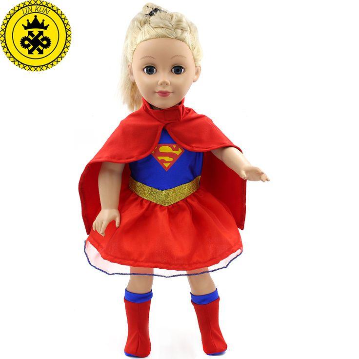 American Girl Doll Quần Áo Siêu Nhân và Spider-Man Cosplay Trang Phục Búp Bê Quần Áo cho 18 inch Búp Bê Phụ Kiện Búp Bê D-