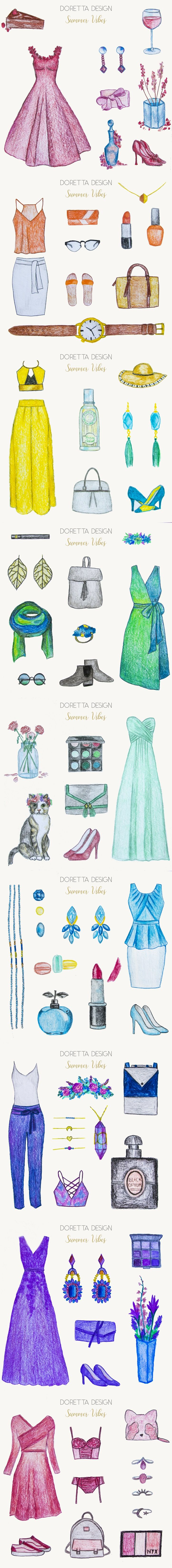 Fashion illustration with summer inspired outfits and accessories.