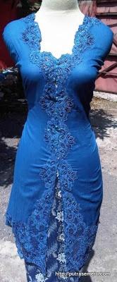 Model Kebaya Modern Biru
