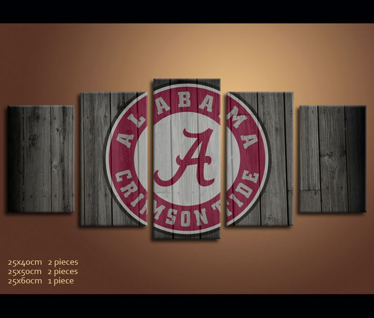 5 Pieces Football Canvas Art Print Alabama Logo Artwork for Wall Decor | awesomever