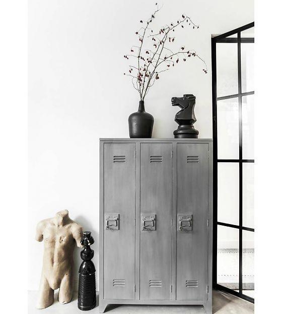 HK-living Kast grijs hout 103x35x155cm, Locker hout - wonenmetlef.nl