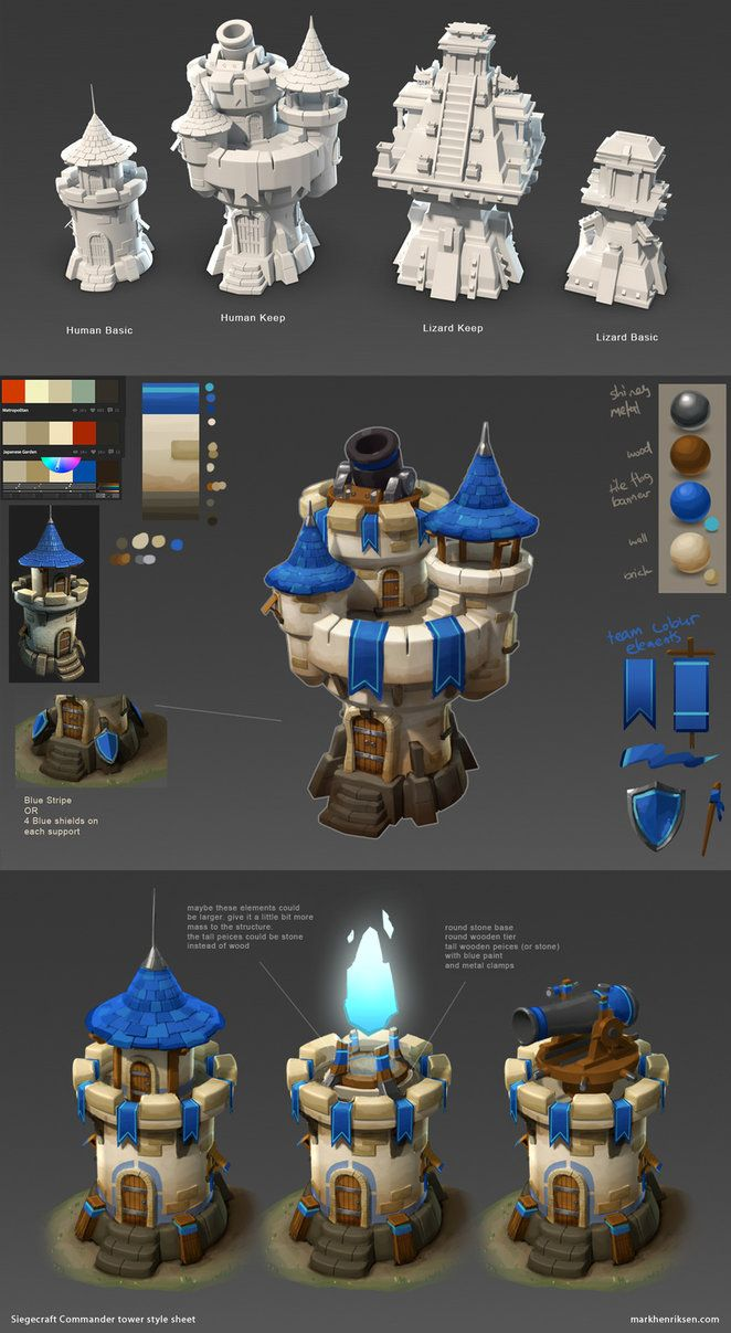 modelled towers for Commander game (I did not model top tower on the left, Human Basic) then did a paint over to establish art style Here is a link to the games website siegecraftcommander.com/