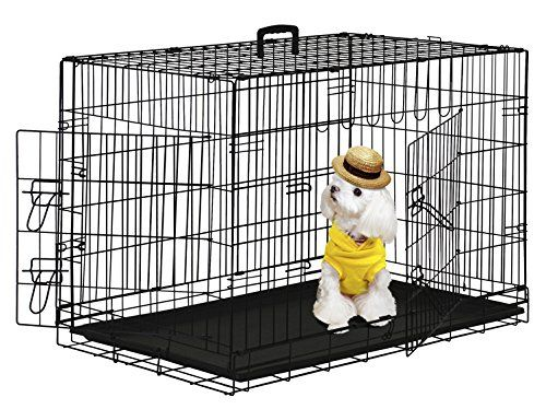 I just used this last weekend  BestPet 42″ Wire Metal Folding Pet Dog Cage Crate Kennel W/2-doors w/ ABS Plastic Removable Tray follow this link click here http://bridgerguide.com/bestpet-42-wire-metal-folding-pet-dog-cage-crate-kennel-w2-doors-w-abs-plastic-removable-tray/ for much more detail about it. Thanks and please repin if you like it. :)