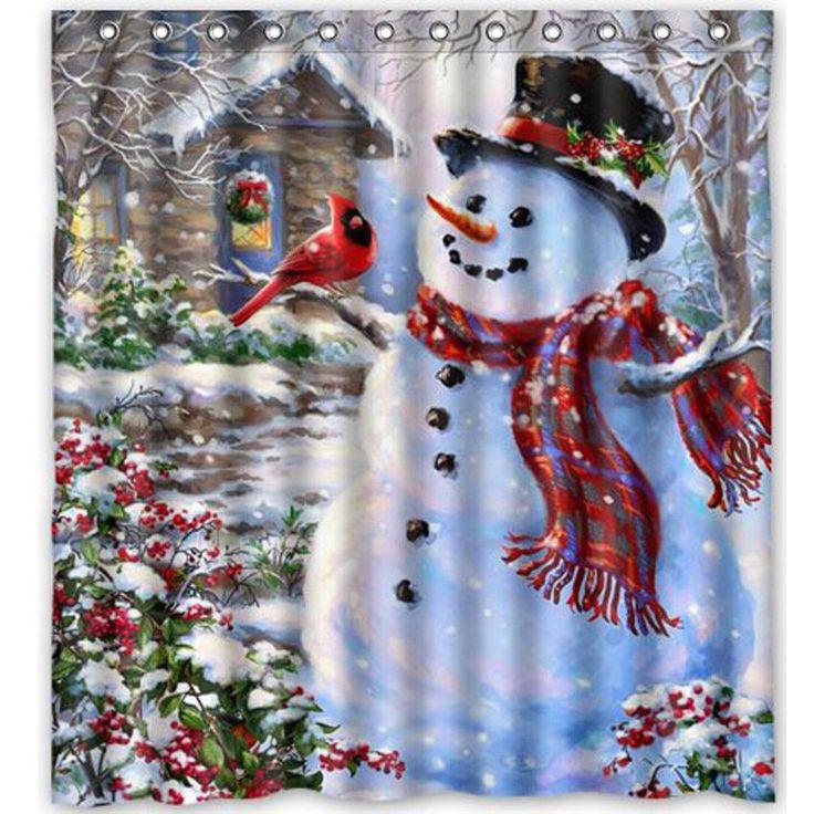 "Christmas Snowman Fabric Waterproof Bathroom Shower Curtain Set 66""x72""+12x Hook   eBay"