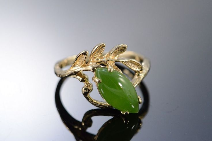 14K 0.60 CTW Cabochon Marquise Jade Leaf Ring Size 4.75 Yellow Gold
