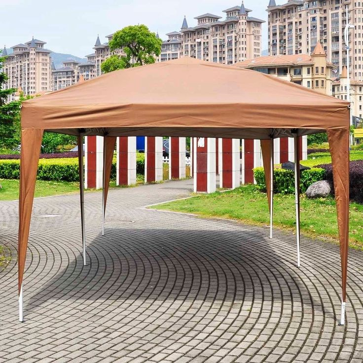 Giantex 10'x20' Ez POP up Wedding Party Tent Folding Gazebo Beach Canopy W/carry Bag (Cafe)