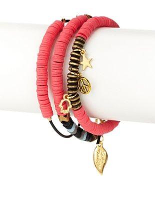 Sara Designs Neon Pink Trade Bead Charm Bracelet Set