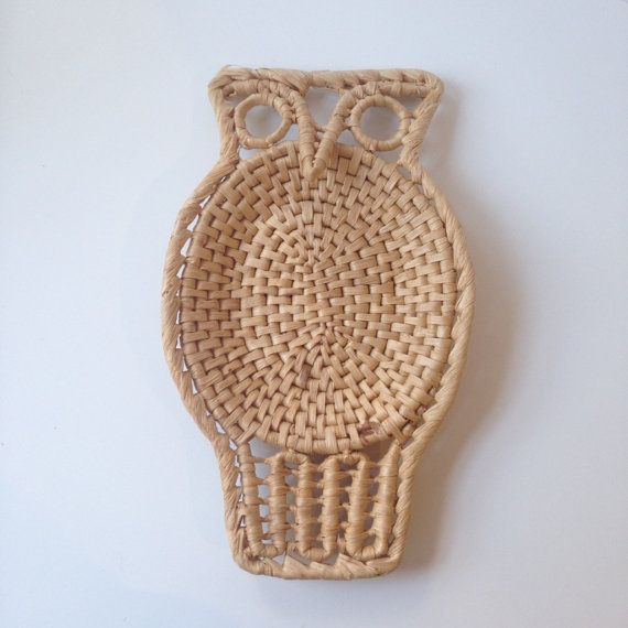 Vintage Wicker Owl Tray / Trivet - Bohemian, Eclectic, Wall Hanging, Catch-all
