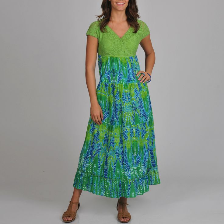 La Cera Women's Solid Lace Printed Maxi Dress - Overstock™ Shopping - Top Rated La Cera Casual Dresses