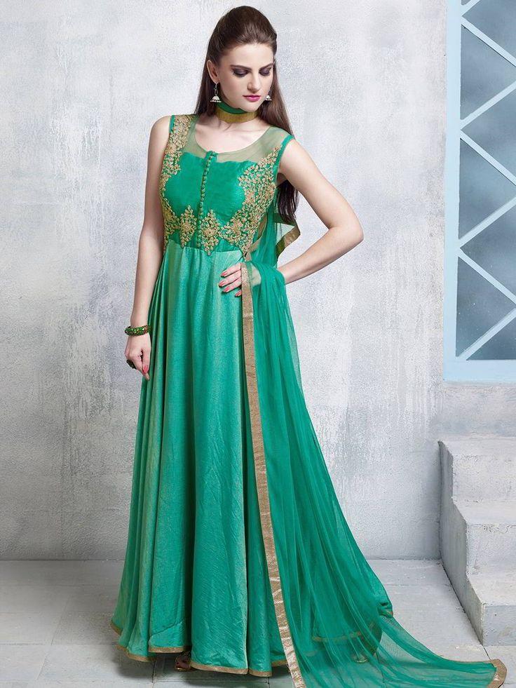 Нефритовое длинное платье в пол, без рукавов, украшенное вышивкой люрексом
