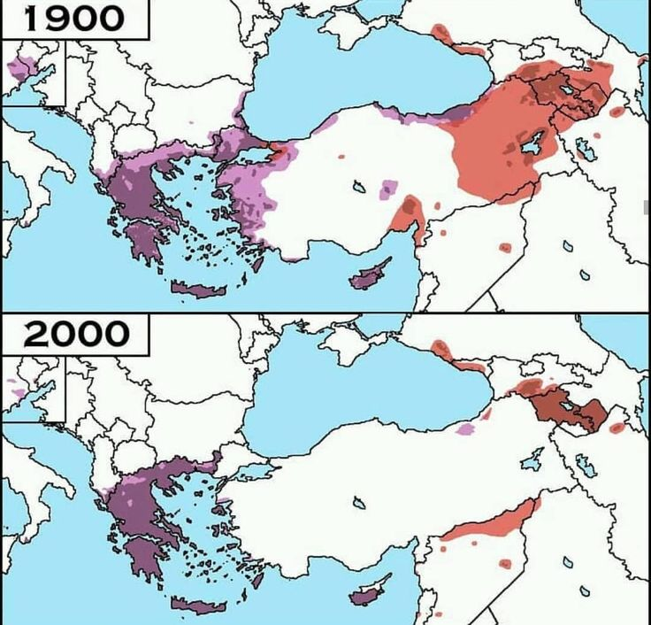 Greeks and Armenians in Eastern Europe and Asia Minor in 1900 and in 2000 ➖ #maps #europe #stats #country #america #travel #fly #journey #facts #mapporn #turkey #armenia #greece