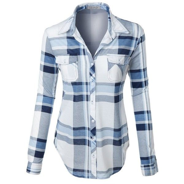 LE3NO Womens Lightweight Plaid Button Down Shirt with Roll Up Sleeves ($21) ❤ liked on Polyvore featuring tops, shirts, blue plaid shirt, polyester shirt, plaid top, blue shirt and strappy top
