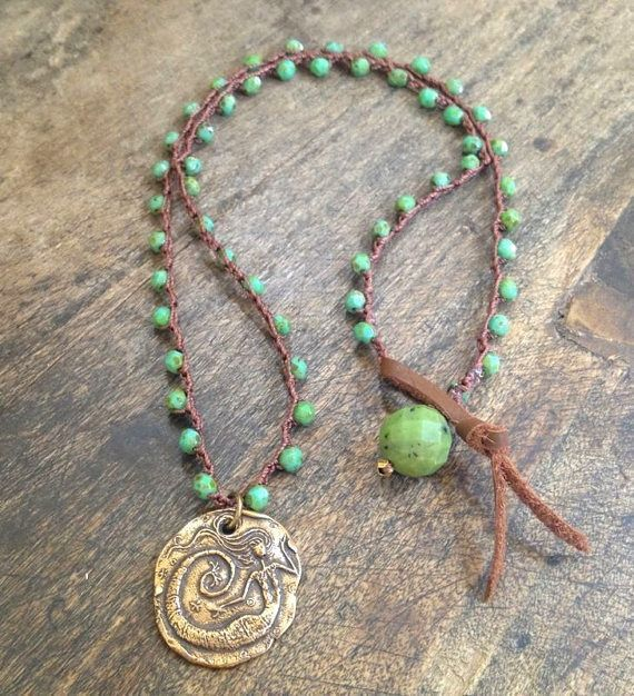 """Mermaid of the Sea, Turquoise Crochet Necklace """"Beach Chic"""" Endless Summer by Two Silver Sisters"""