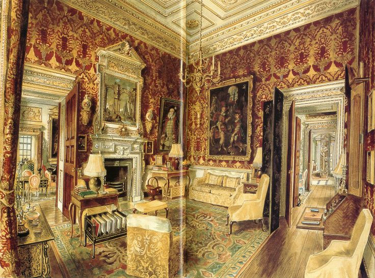 The velvet room at Ditchley Park. The Trees used it as a winter drawing room.  Watercolor by Alexandre Serebriakoff.