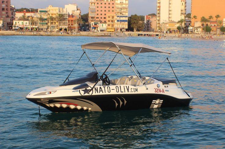 mit dem Jetboot in der Bucht von Palma de Mallorca - Arenal