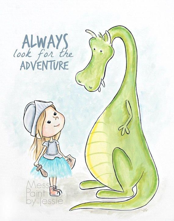 Knight and Dragon Childrens Wall Art Adventure Girls Room – Baby