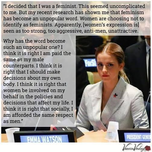 Actress and UN Goodwill Ambassador Emma Watson gave a brilliant speech on Friday to the UN announcing the new He For She campaign, a solidarity movement for gender equality. #VanessaVerduga