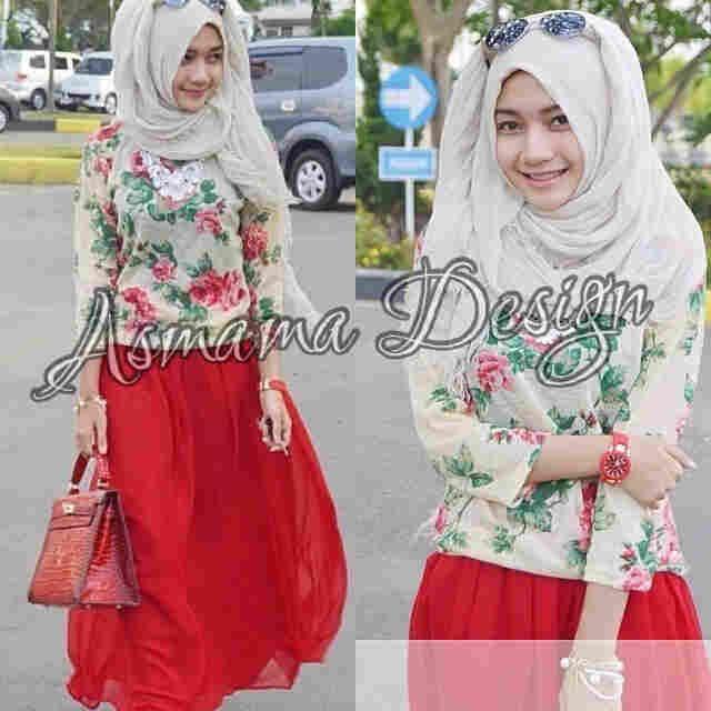 hijab Alina merah s@77 e@83 bahan spandek fuII maxi drezz printing+pazmina(real nyambung merah marun)