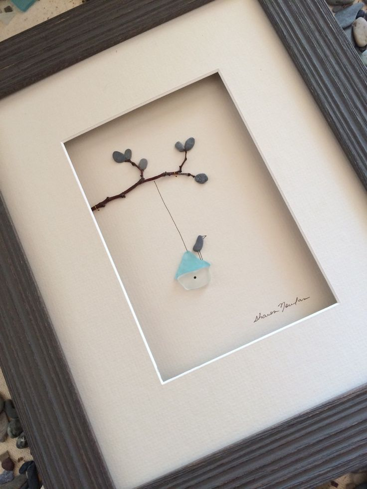 8 by 10 sea glass birdhouse pebble art by sharon by PebbleArt