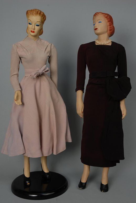 1940's mannequin dolls images | 944: THREE MINIATURE FASHION MANNEQUINS, 1940s Molded c