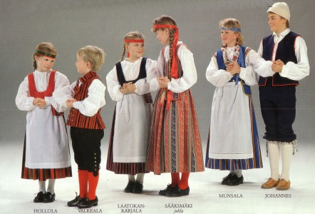 finnish folk dress  Tavastia, Karelia and Osthrobotnia