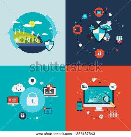 Flat design vector concept illustration with icons of ecology, environment, social network security, data protection and analytical research