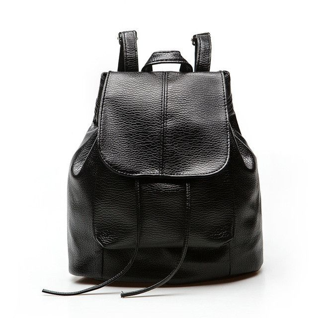 Women Backpack PU Leather Black School Bags For Teenagers Girls Female Casual Travel Bags Pack