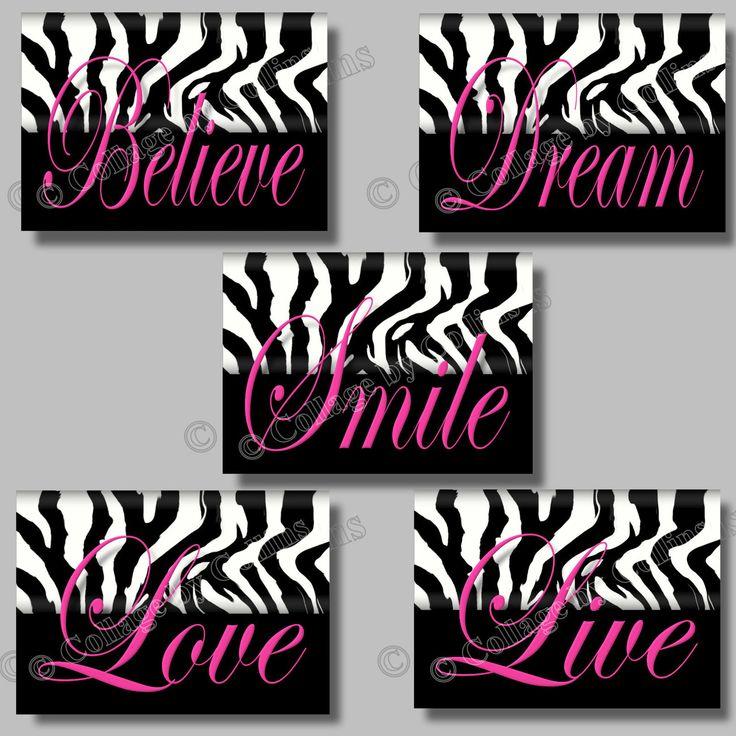 5 PINK Zebra Print SMILE DREAM LIVE LOVE BELIEVE Quote Art Girls Room Wall  Decor