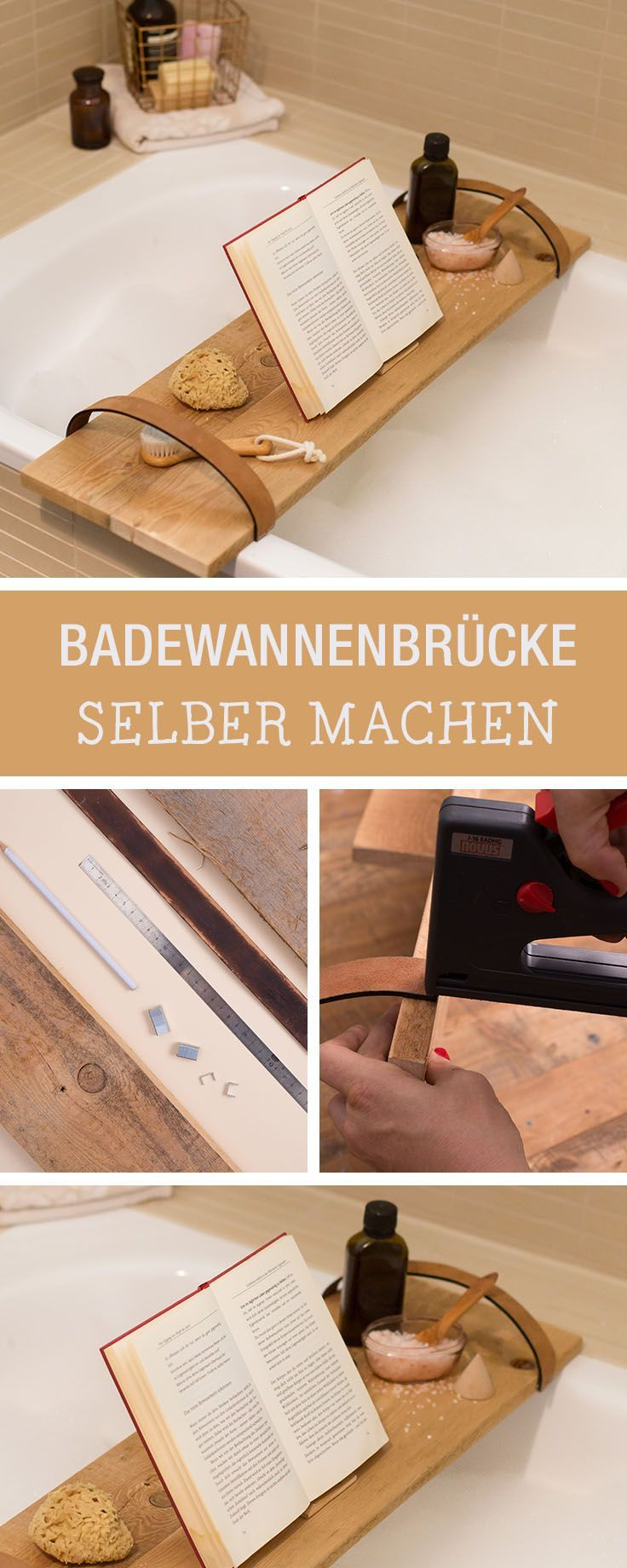 Möbel-DIY fürs Badezimmer: Brücke aus Holz für die Badewanne bauen / diy furniture for the bathroom, relaxing table for the bathtube via DaWanda.com