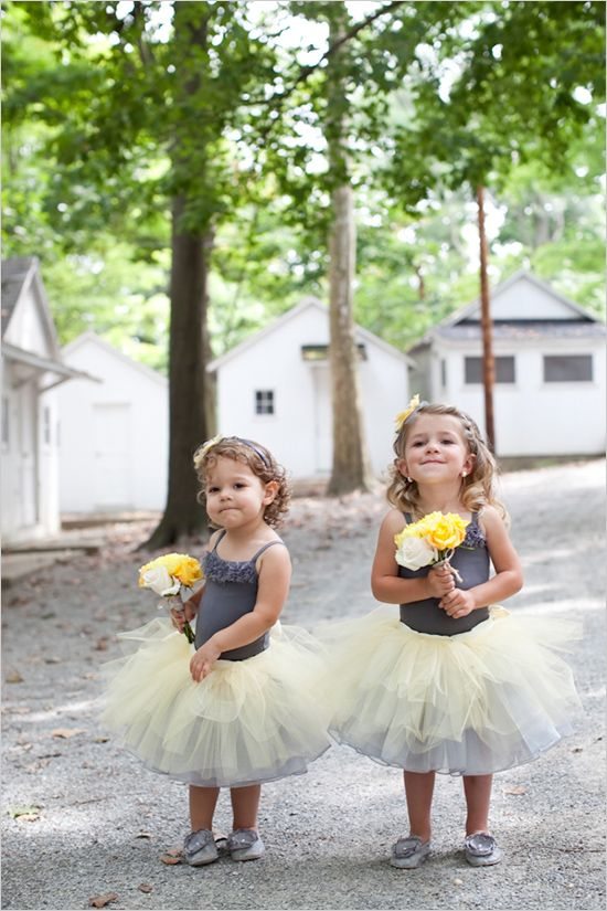 I don't like the colors or the leotards, BUT i love the idea of flower girls in tutus!