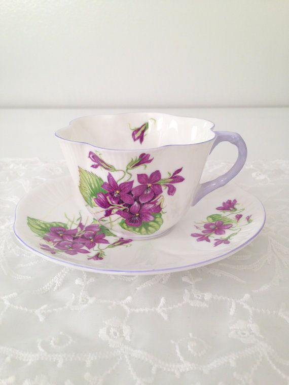 Vintage Shelley English Fine Bone China Dainty Shape Violets Pattern Teacup and Saucer Wedding Gift Inspiration - c. 1940 - 1966