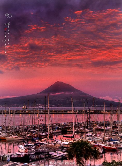 Red Skies with Pico volcan @ Azores islands - PORTUGAL I have no words for this but my soul just leaps out of my chest when I look at it... ~Ellen Morais    This is my father's island.  Looking at it from Faial.  Beautiful!