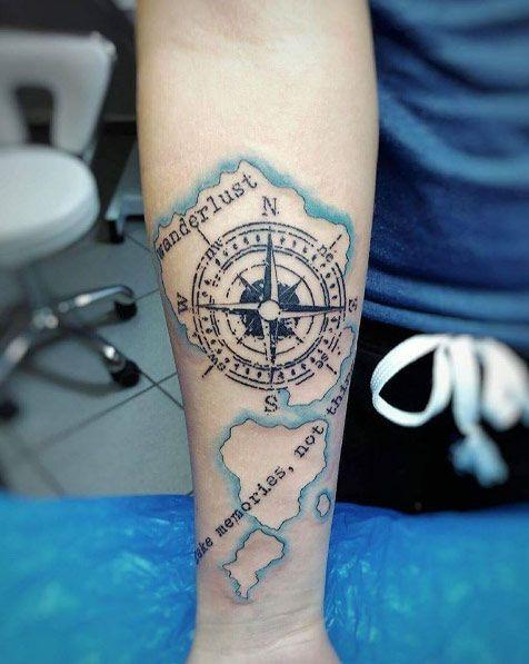 Travel-themed forearm piece by Silvinka Kuzelova