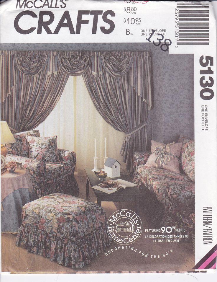 FREE US SHIP McCalls 5130  Window Treatments Swag Jabot Drapery Chair Sofa Ottoman Slipcover Vanity Skirt Bedding Retro 1990s 90's  uncut by LanetzLiving on Etsy