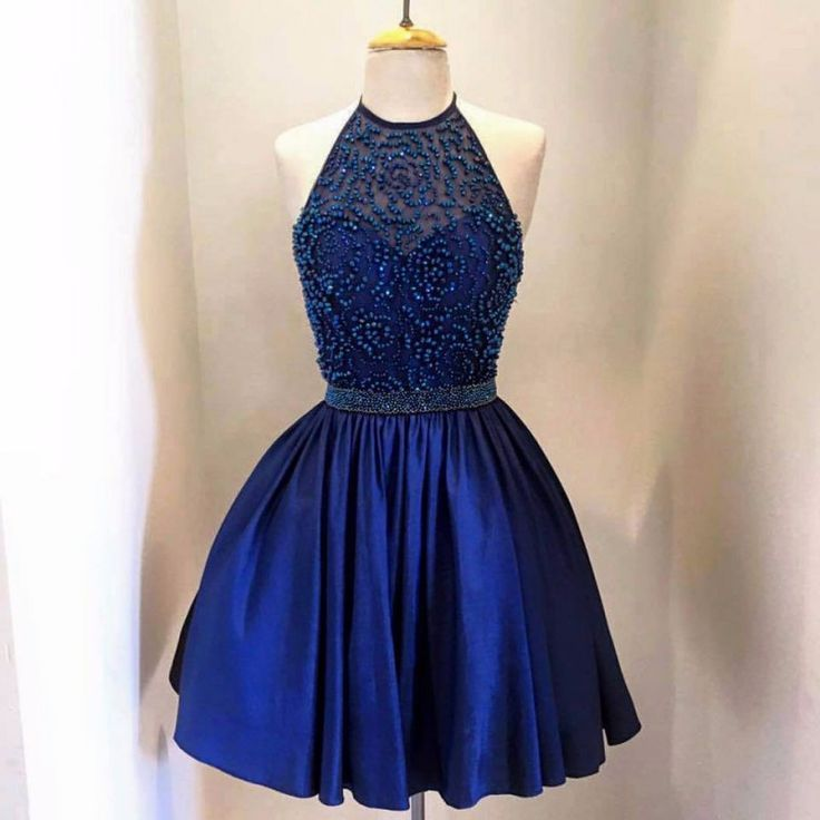 Awesome Semi Formal Dresses Blue Halter Homecoming Dresses Backless Beads Stain 8th Grade Prom Dresses Short...