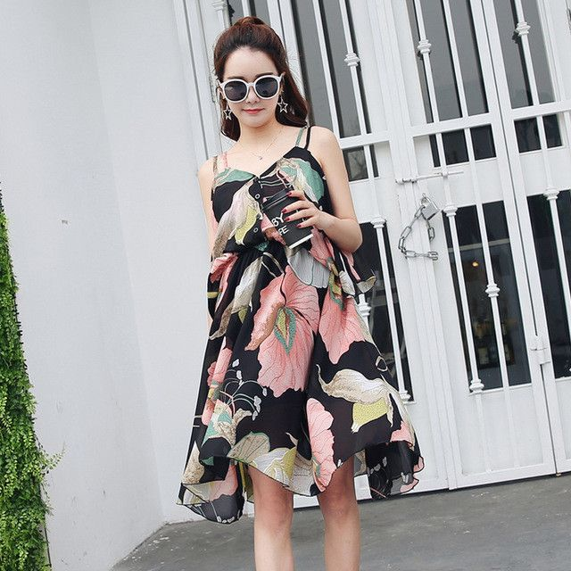 Sleeveless Floral Maternity Beach Dress Fashion Pregnancy Strapless Dress for Pregnant Women 2017 Summer Maternity Clothes