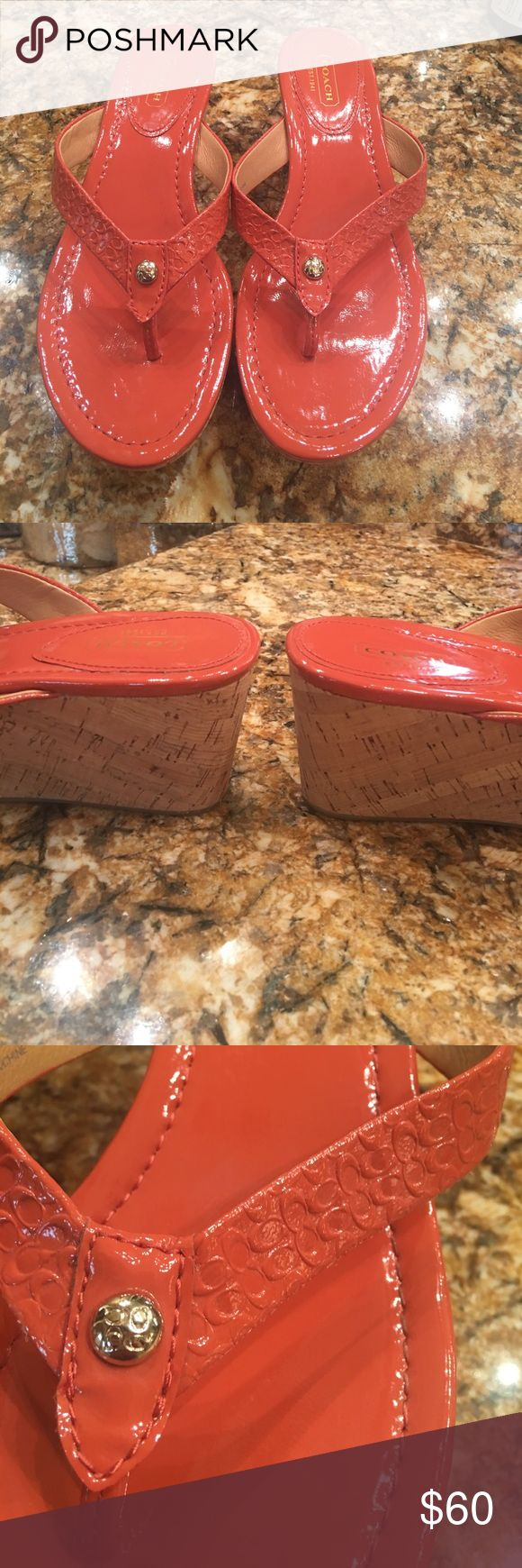 """Ladies wedges by COACH Ladies wedge sandal by Coach.  NWOT. Perfect condition, super cute!  I wear an 8 and these are 7 1/2 heel ht is 2 1/2"""" and foot area is 1 1/2"""". Coral in color Coach Shoes Wedges"""
