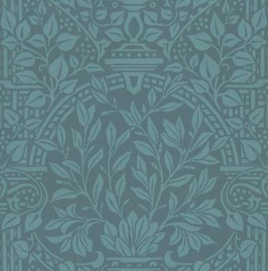 Garden Craft (210357) - Morris Wallpapers - This classic design with its leaf filled formal garden trellis, is printed in two toning shades of one colour.  Shown in the stunning rich blue  – available in other colours. Please request sample for true colour match.