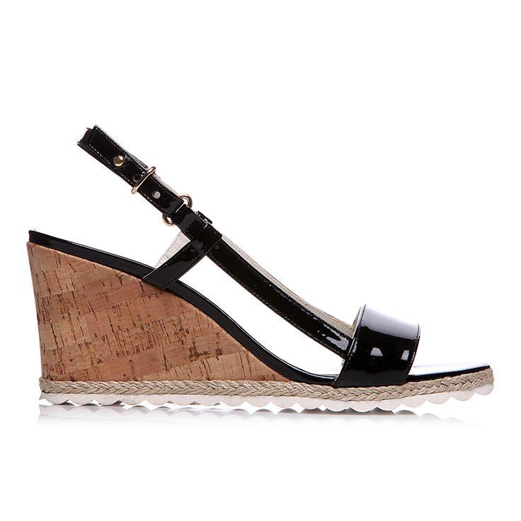 Code: 652B01 Heel height: 7 cm www.mourtzi.com #wedge #black #patent #elegant