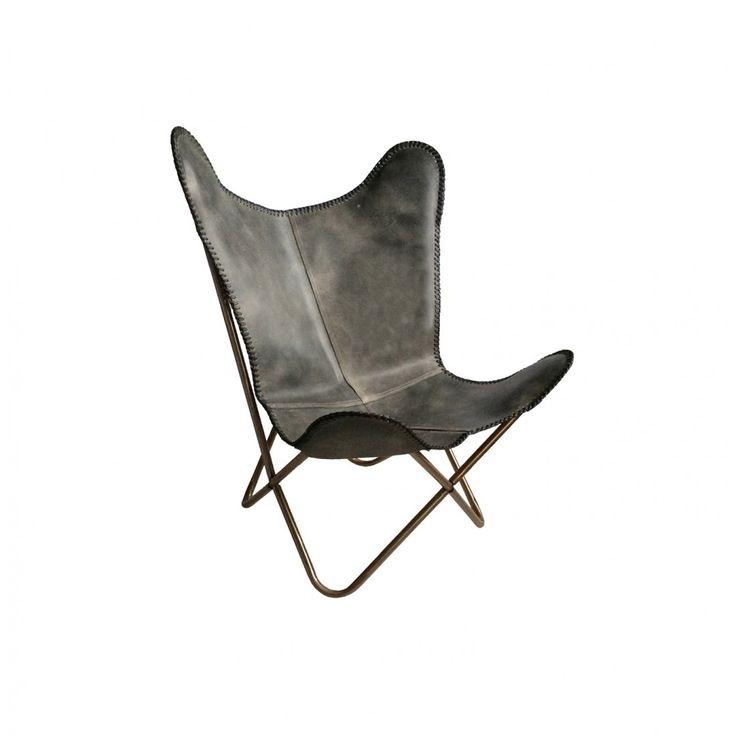 Vlinderstoel Stoel antraciet leather DR Wonen (for the vide)