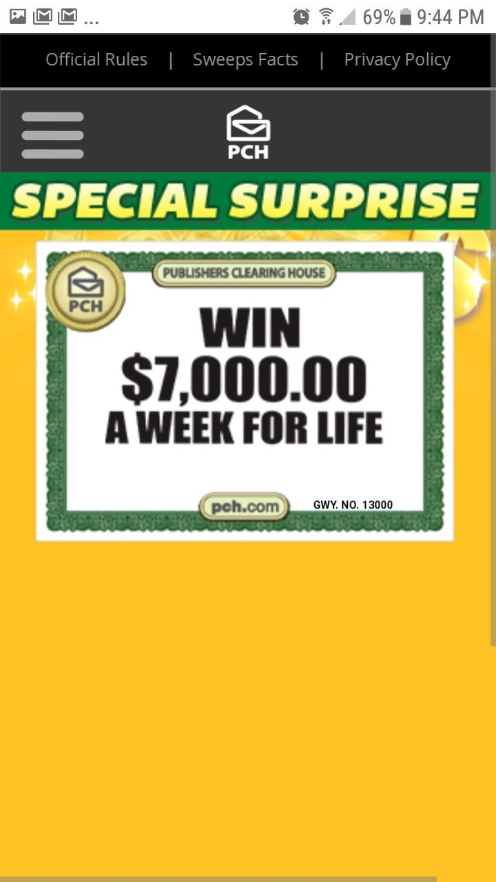 PCH I RROJAS CLAIM MY OWNERSHIP TO WIN MY SPECIAL SURPRISE