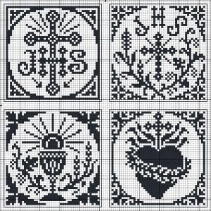 Four squares with Catholic motifs | Charts for cross stitch or filet crochet.