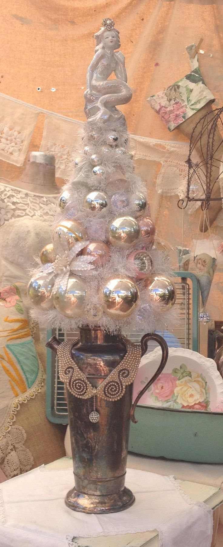 Mermaid Christmas Tree in a vintage silver pitcher with pearl collar,