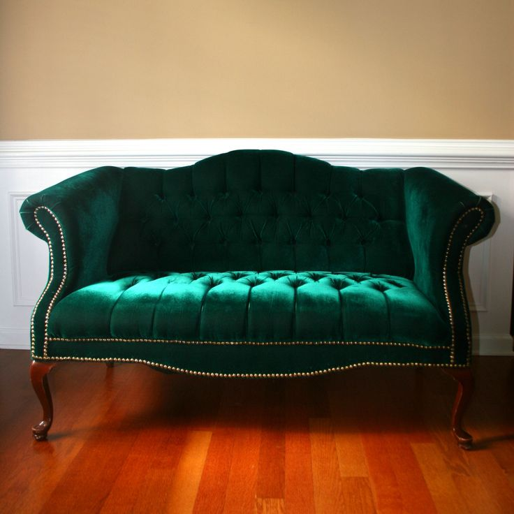 Emerald Chesterfield Love Seat. Settee. Couch. Hunter Green Sofa. Tufted Velvet. Home Decor. Photography Prop.. $400.00, via Etsy.