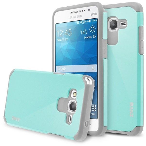 Samsung Galaxy Grand Prime Case, RANZ Grey with Aqua Blue Hard Impact... ($4.99) ❤ liked on Polyvore featuring accessories, tech accessories, galaxy smartphone, samsung and samsung smartphones