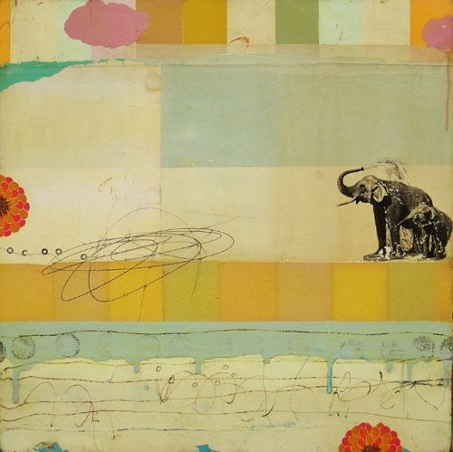 Michael Cutlip - Michael Cutlip at Seager Gray Gallery Bath Time is a whimsical mixed media painting using collage