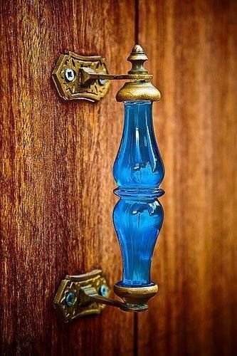 beautiful blue glass door handle