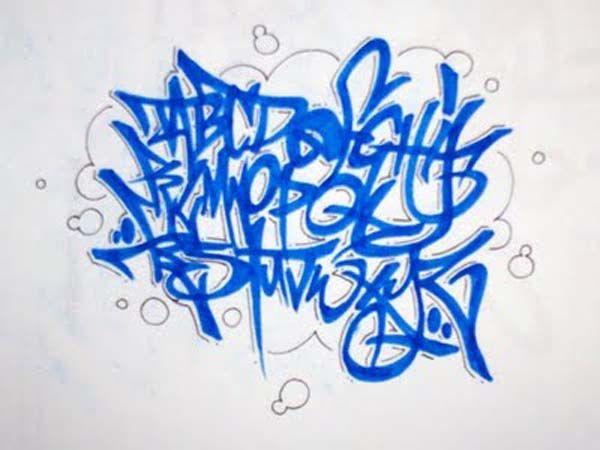 Letras de Graffiti abecedario Azul