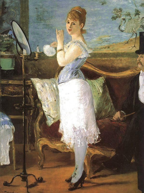 Eduard Manet. Nana 1877. Actress Henriette Hauser poses as a courtesan (high-end prostitute). Rejected by The Salon on  grounds of  indecency, when displayed in a shop window it almost caused a riot, but it was like that in '77.