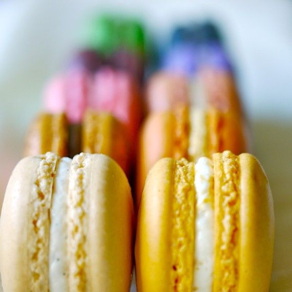 a rainbow of macarons